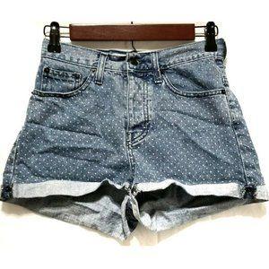 Brandy Melville High Rise Polka Dot Jean Shorts